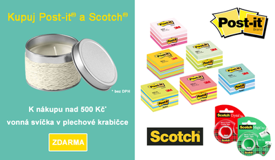 Akce kupuj Post-it a Scotch